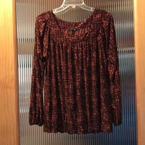 Brown blouse size large full length sleeves